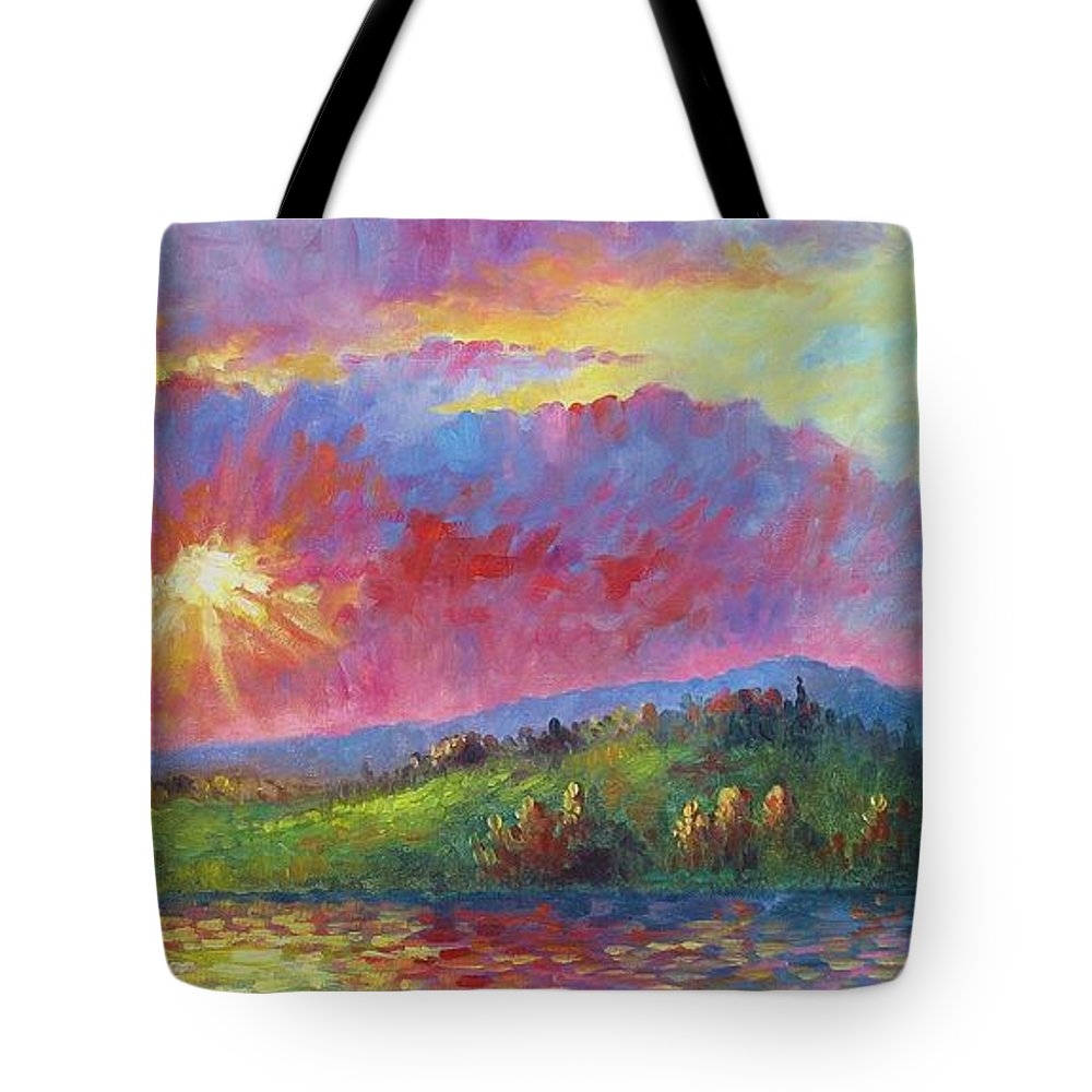Landscape Tote Bag featuring the painting Front Range Sunset by David G Paul
