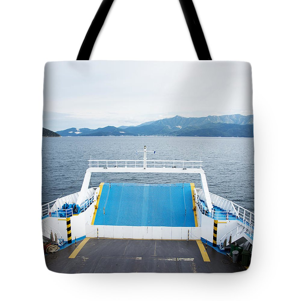 Blue Tote Bag featuring the photograph Front Side Of A Ferry by Newnow Photography By Vera Cepic