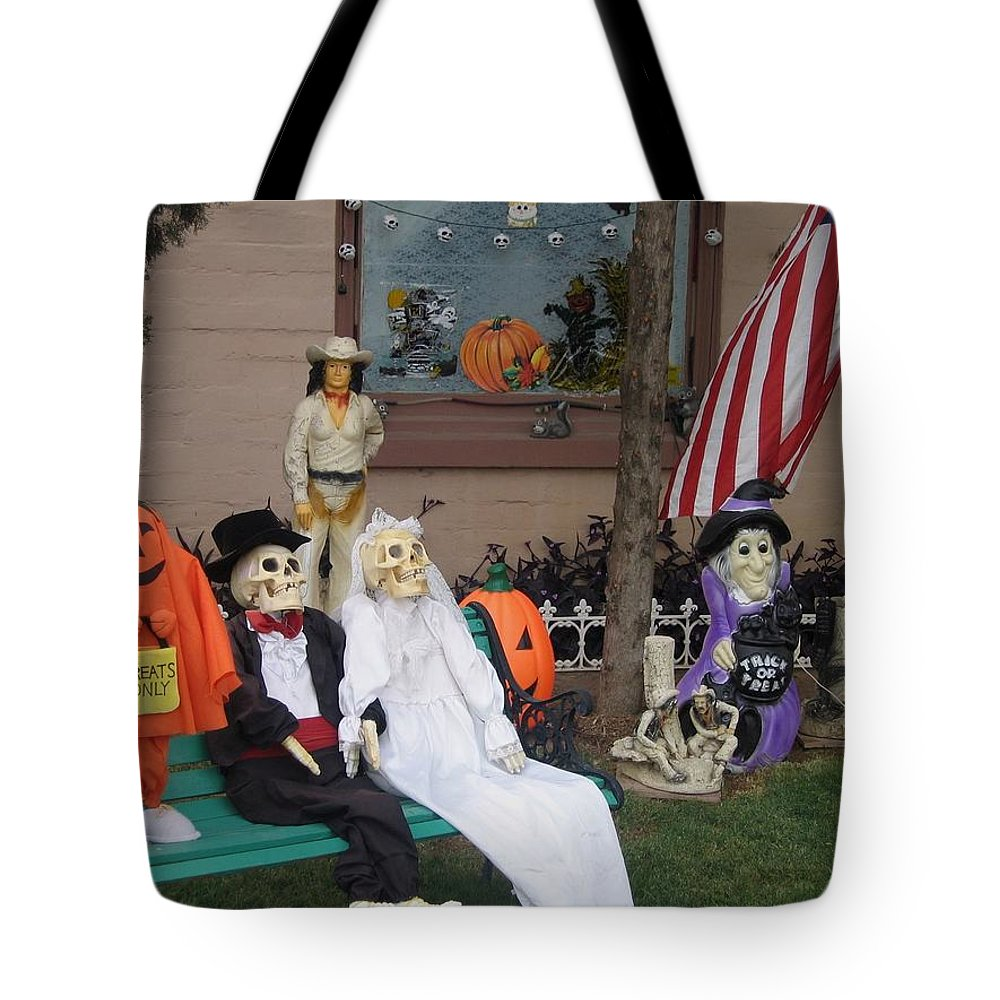 Front Yard Halloween Display Tombstone Arizona 2004 Tote Bag featuring the photograph Front Yard Halloween Display Tombstone Arizona 2004 by David Lee Guss
