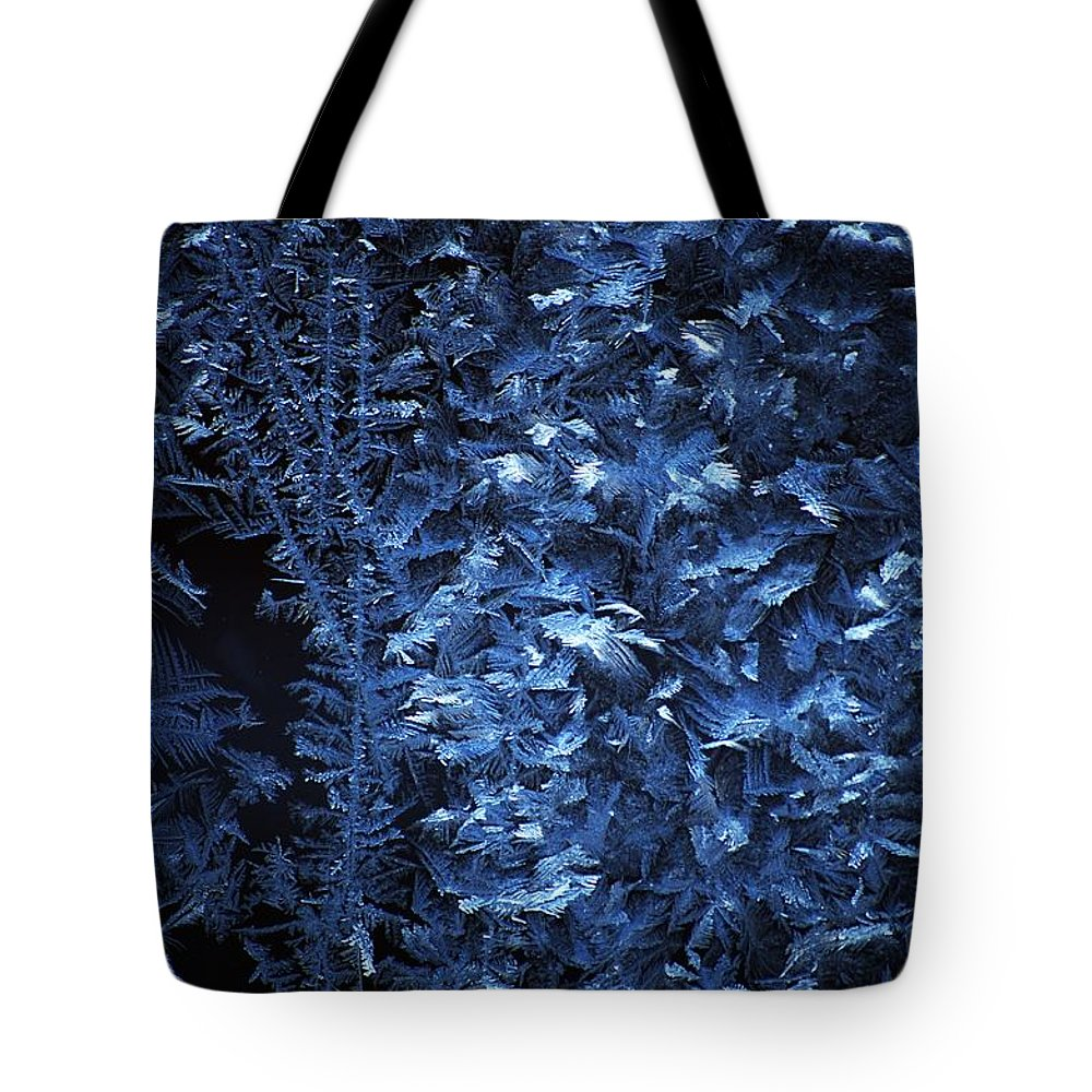 Winter Tote Bag featuring the digital art Frost On Window by David Lane
