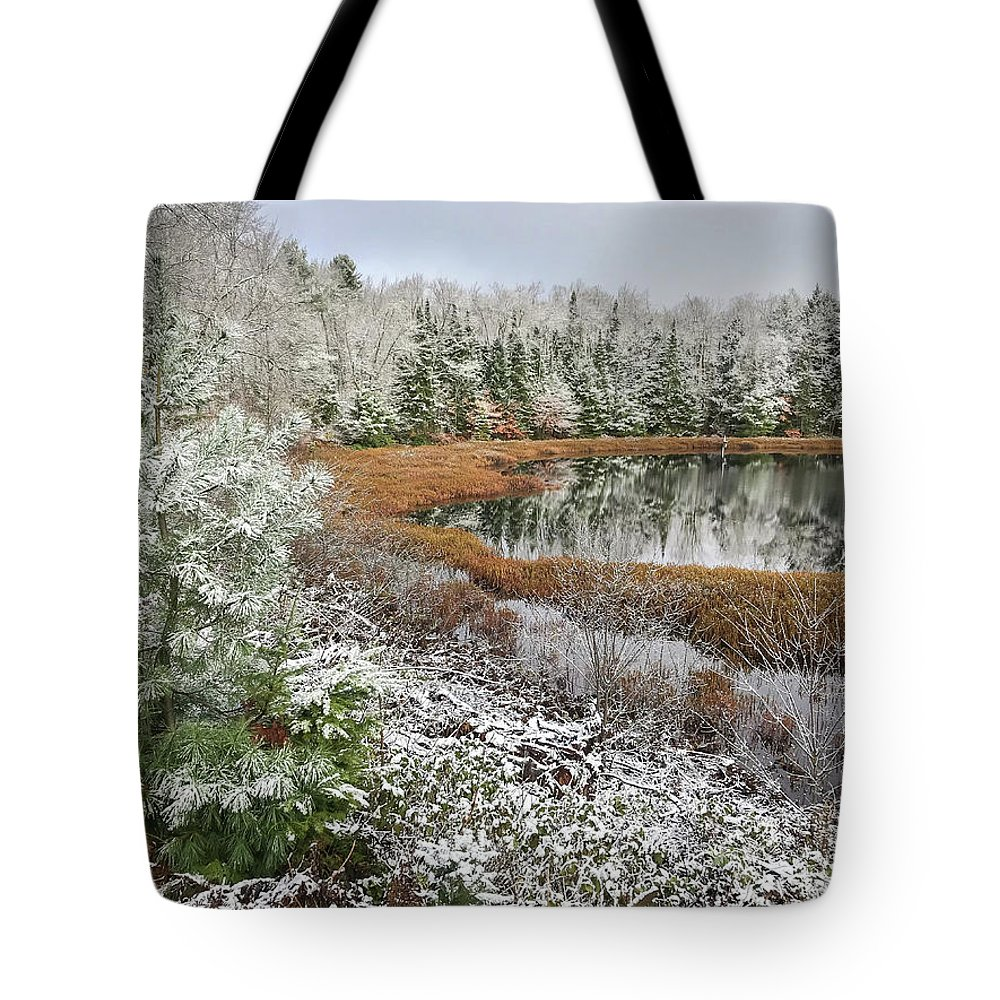Snow Tote Bag featuring the photograph Frosted by Lee and Michael Beek