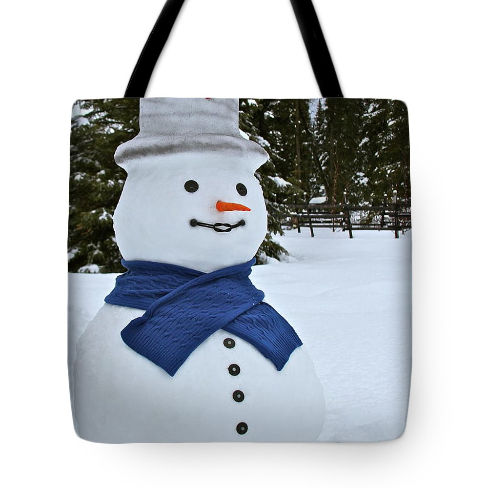 Snow Man Tote Bag featuring the photograph Frosty Alaskan by Rick Monyahan
