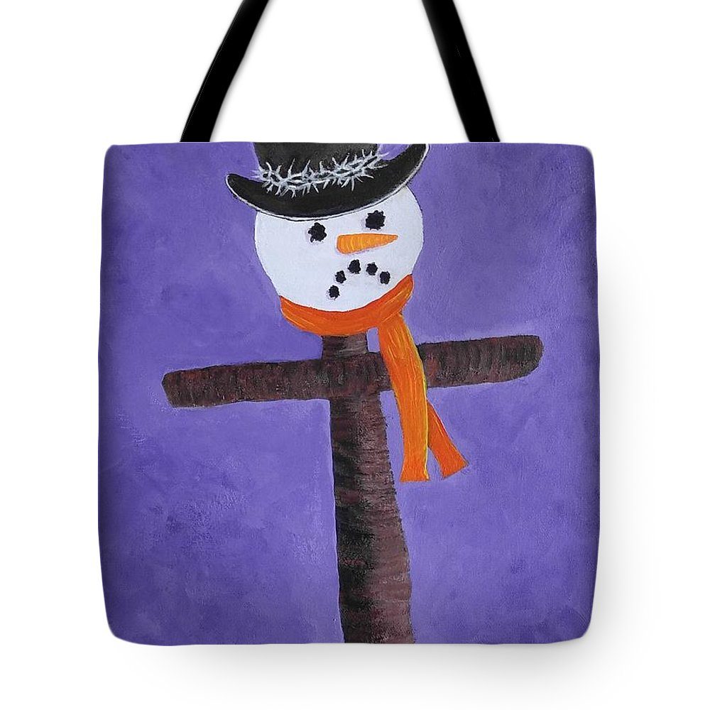 Snowman Tote Bag featuring the painting Frosty Cross by Reggie Hart