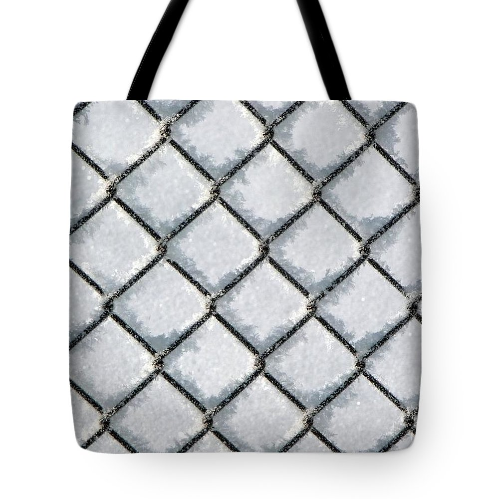 Frost Tote Bag featuring the photograph Frosty Fence by RiaL Treasures