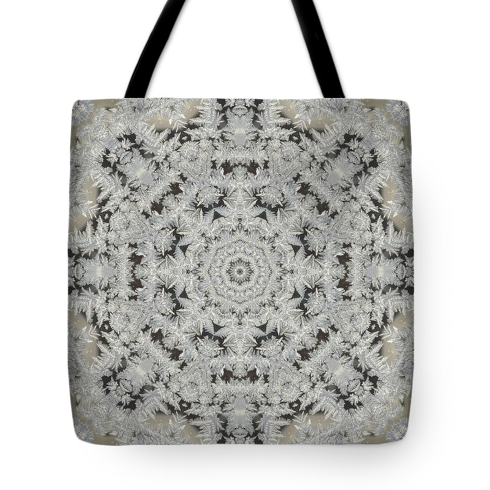Kaleidoscope Tote Bag featuring the photograph Frosty Lace Doily by M E Cieplinski