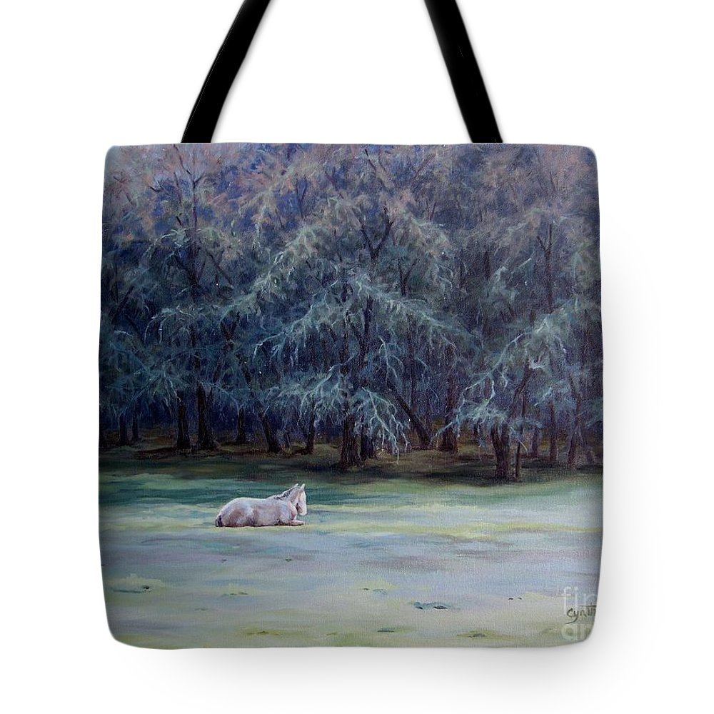 Horse Oil Painting Tote Bag featuring the painting Frosty Morning by Cynthia Riley