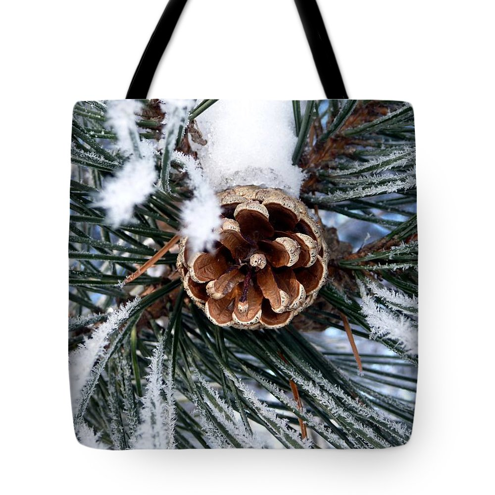Frost Tote Bag featuring the photograph Frosty Pine Cone by RiaL Treasures