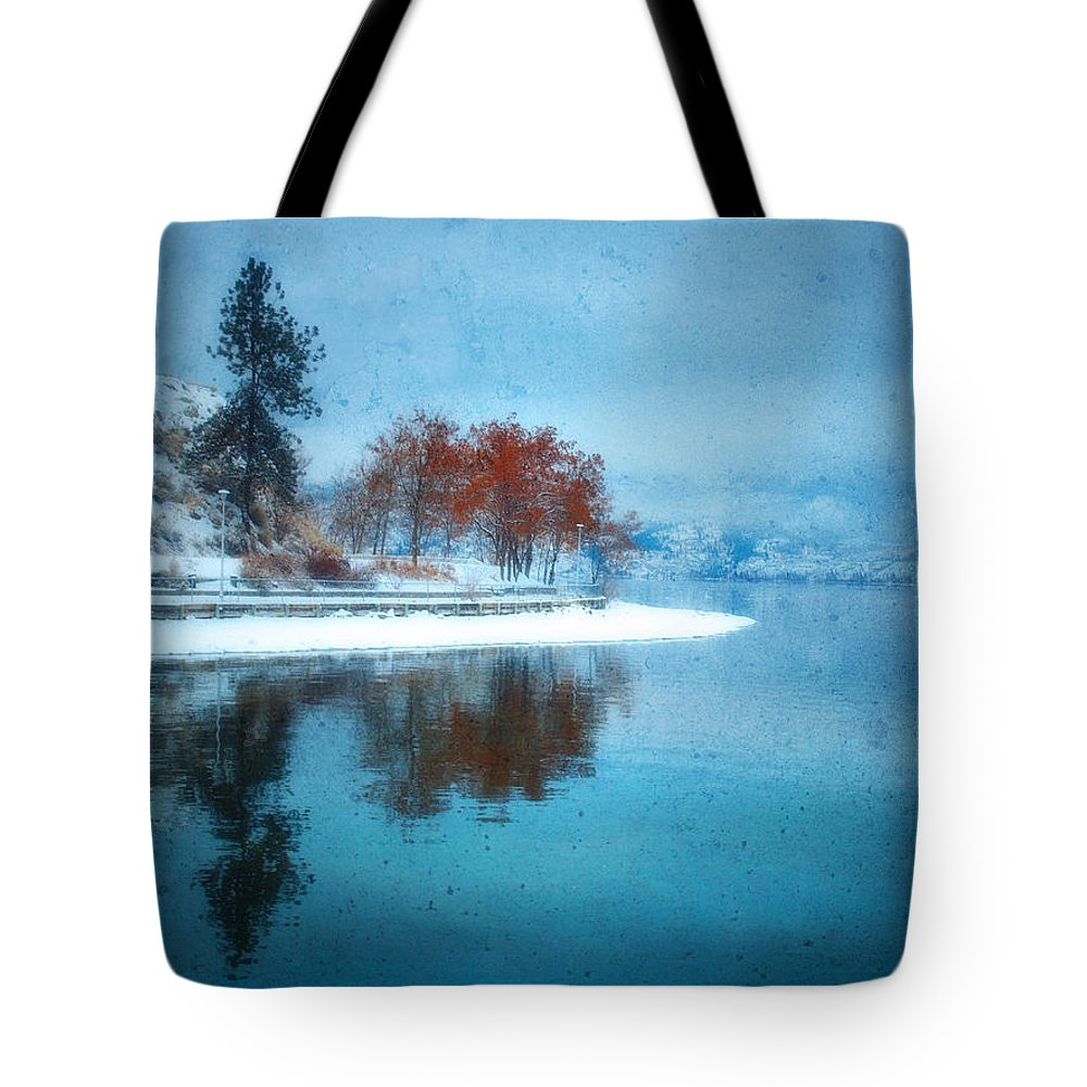 Blue Tote Bag featuring the photograph Frosty Reflection by Tara Turner