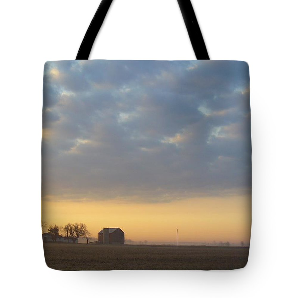 Sunrise Tote Bag featuring the photograph Frosty Spring Sunrise 2 by Peggy King