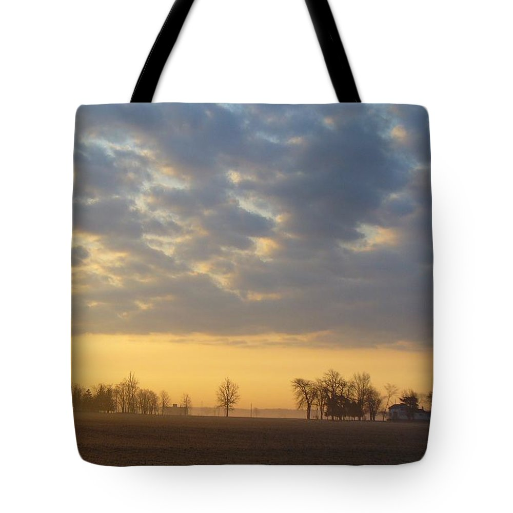 Sunrise Tote Bag featuring the photograph Frosty Spring Sunrise by Peggy King