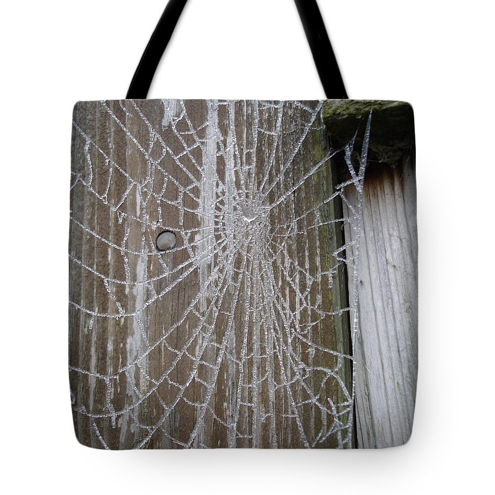 Winter Tote Bag featuring the photograph Frosty Web by Susan Baker