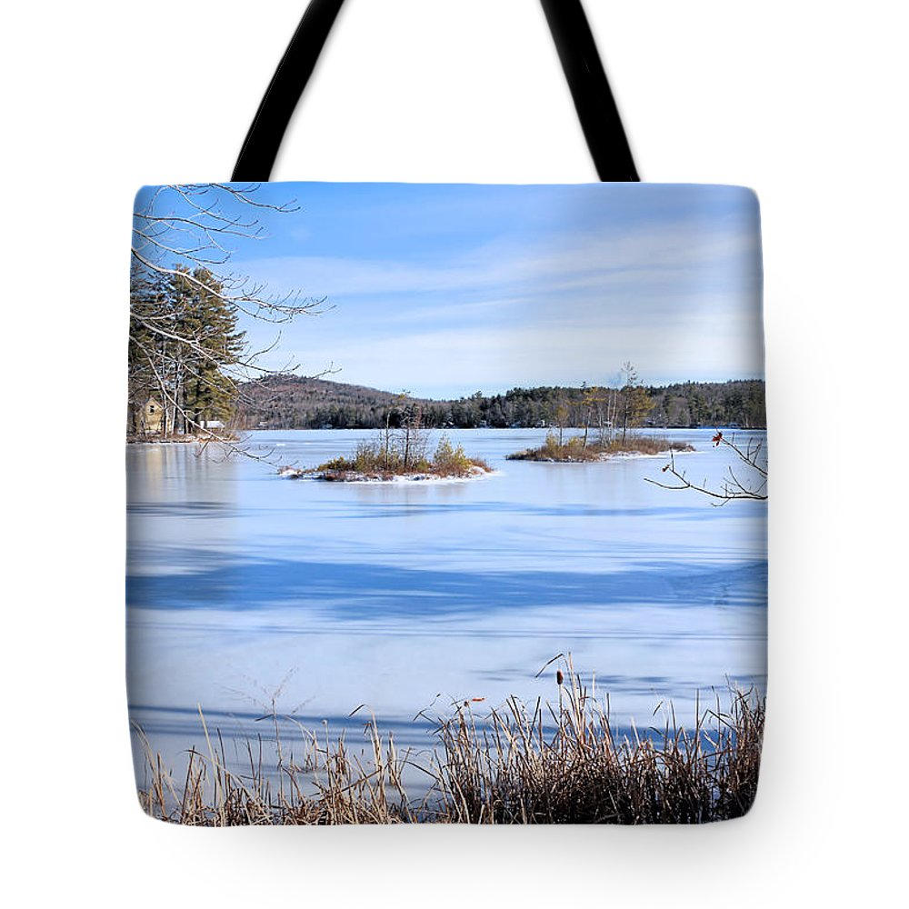 Pond Tote Bag featuring the photograph Frozen Bryant Pond by Elizabeth Dow