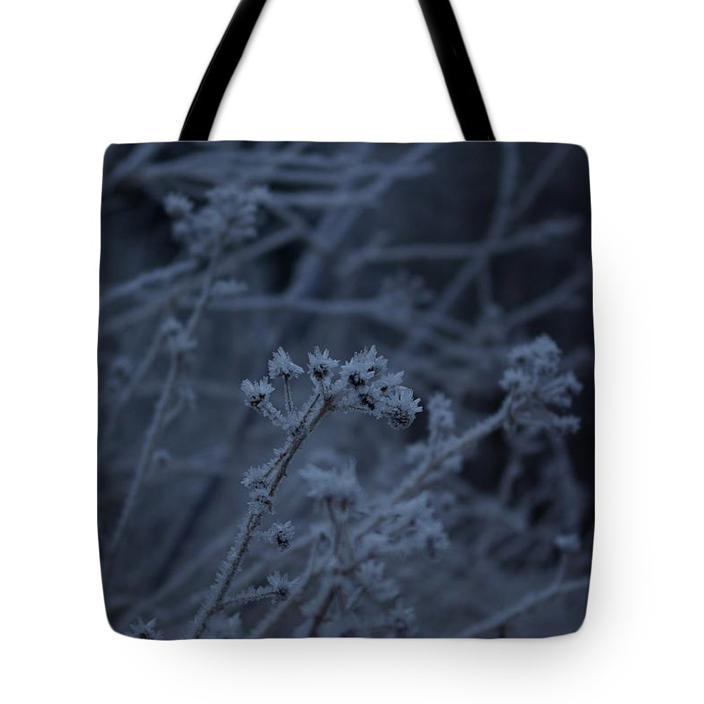 Frozen Tote Bag featuring the photograph Frozen Buds by Cindy Johnston