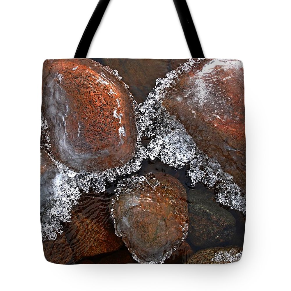 Ice Tote Bag featuring the photograph Frozen Jewels by Tim Beebe