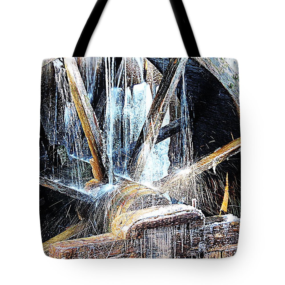 Cades Cove Tote Bag featuring the photograph Frozen - John P. Cable Grist Mill by Roe Rader