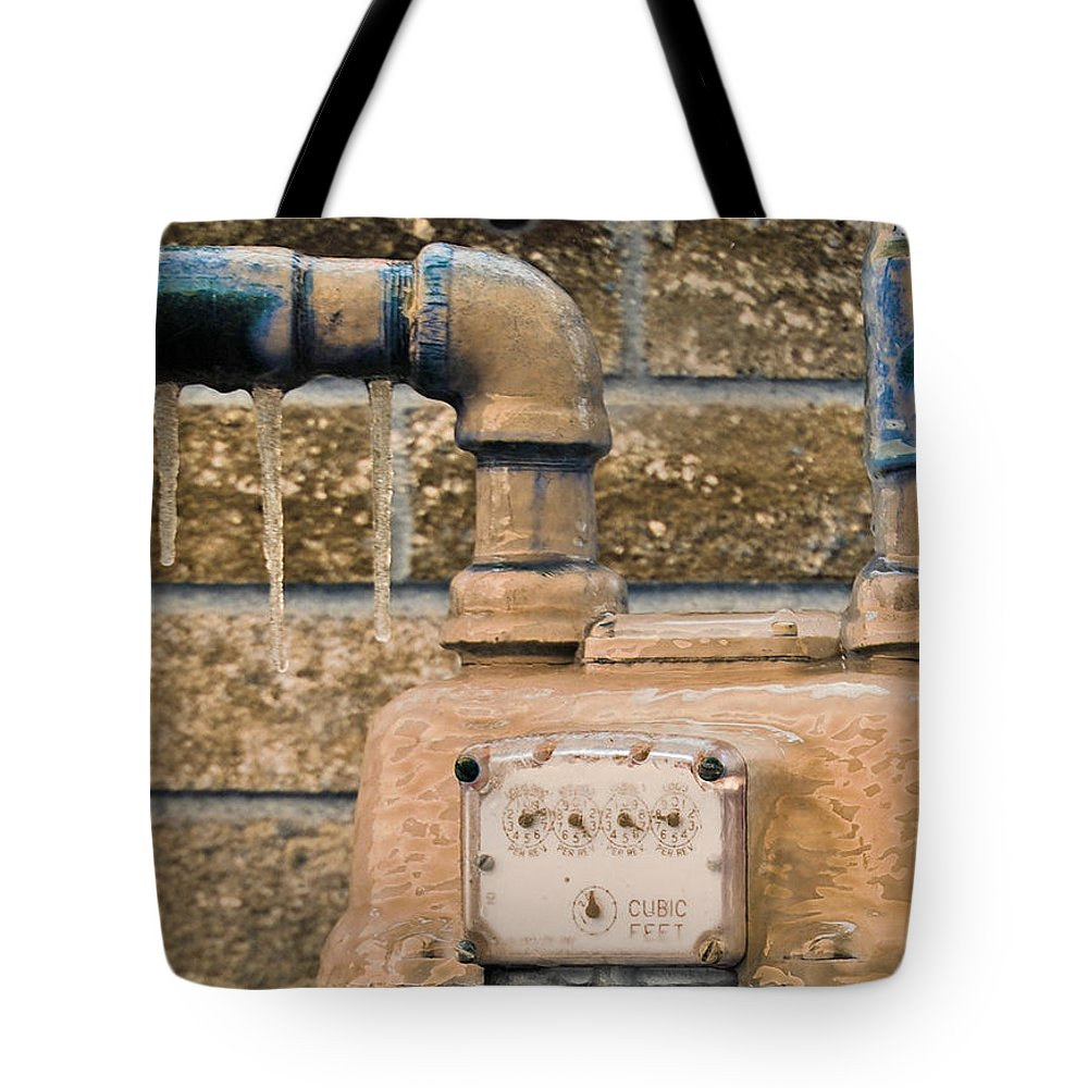 Winter Tote Bag featuring the photograph Frozen Meter by Donna Shahan