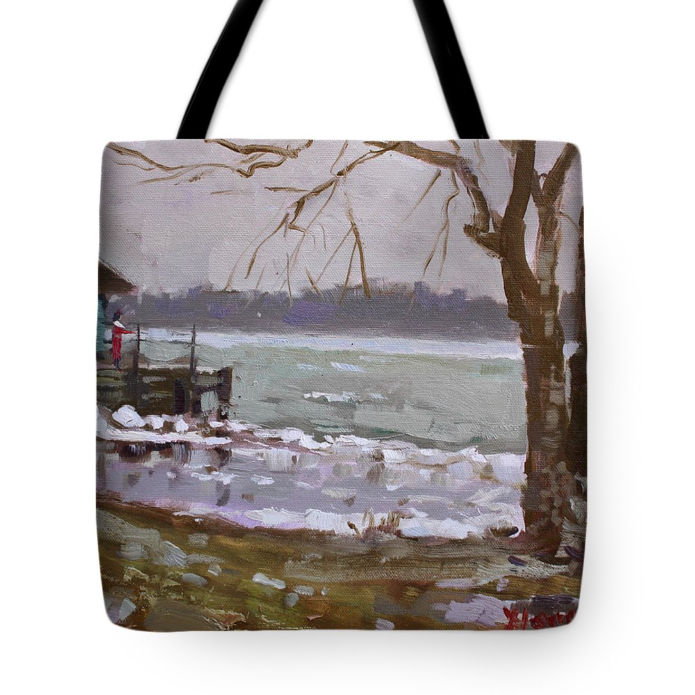 Frozen River Tote Bag featuring the painting Frozen Niagara River by Ylli Haruni