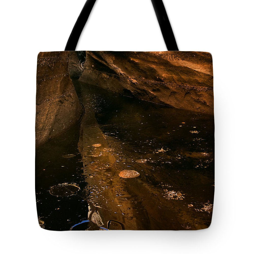Slot Tote Bag featuring the photograph Frozen Slot by Mike Dawson
