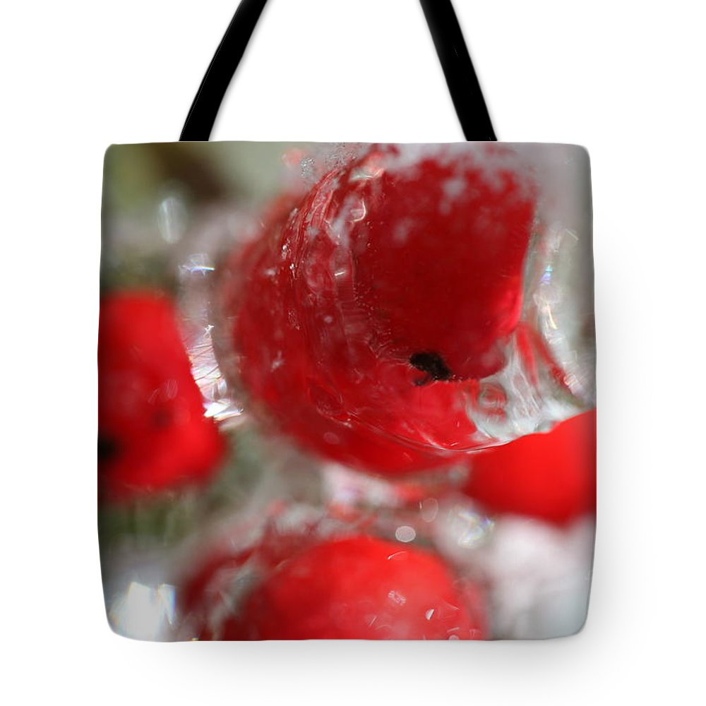 Berries Tote Bag featuring the photograph Frozen Winter Berries by Nadine Rippelmeyer