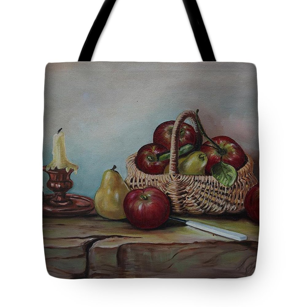 Fruit Basket Tote Bag featuring the painting Fruit Basket - Lmj by Ruth Kamenev