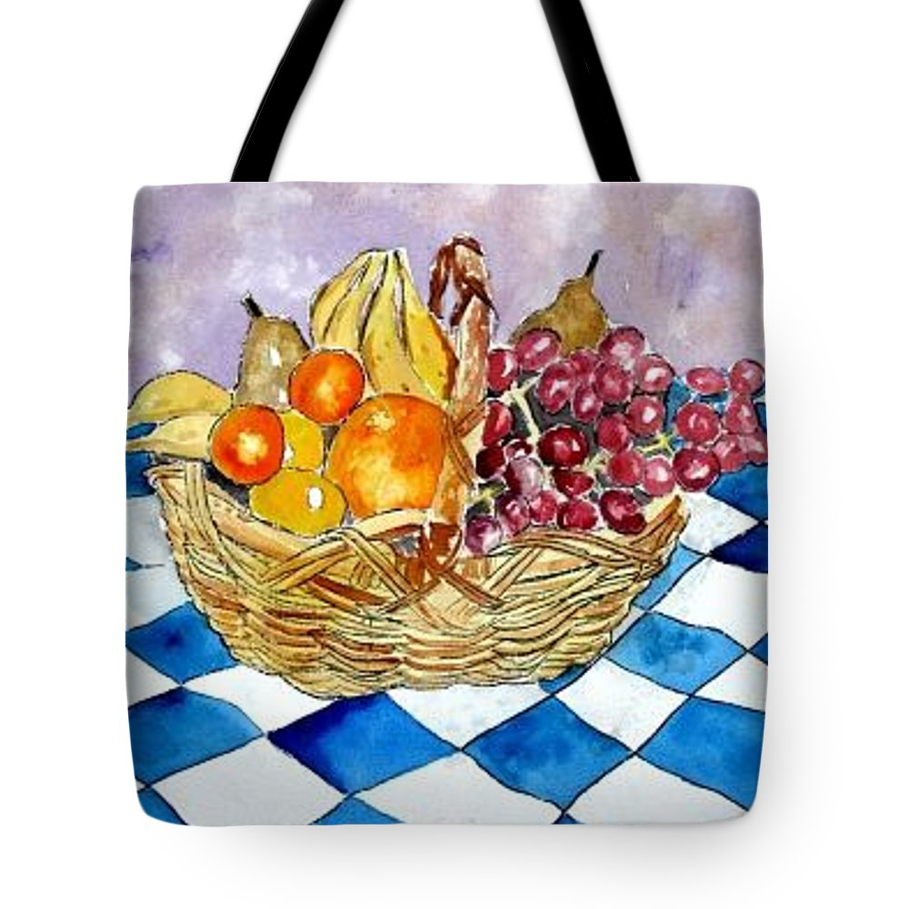 Fruit Basket Tote Bag featuring the painting Fruit Basket Still Life 2 Painting by Derek Mccrea