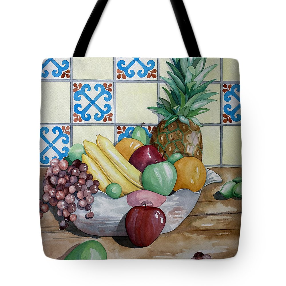 Fruit Painting Tote Bag featuring the painting Fruit Bowl by Kandyce Waltensperger