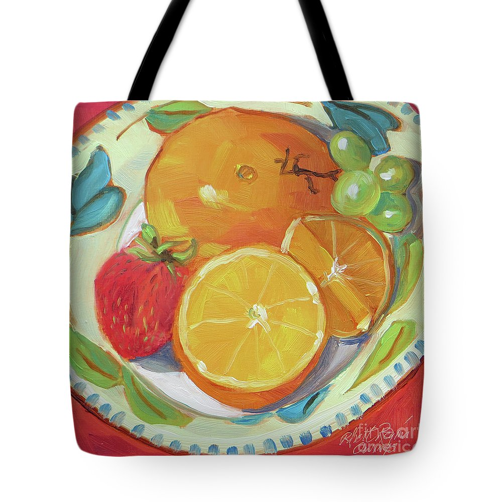 Still Life Tote Bag featuring the painting Fruit Bowl by Rhett Regina Owings