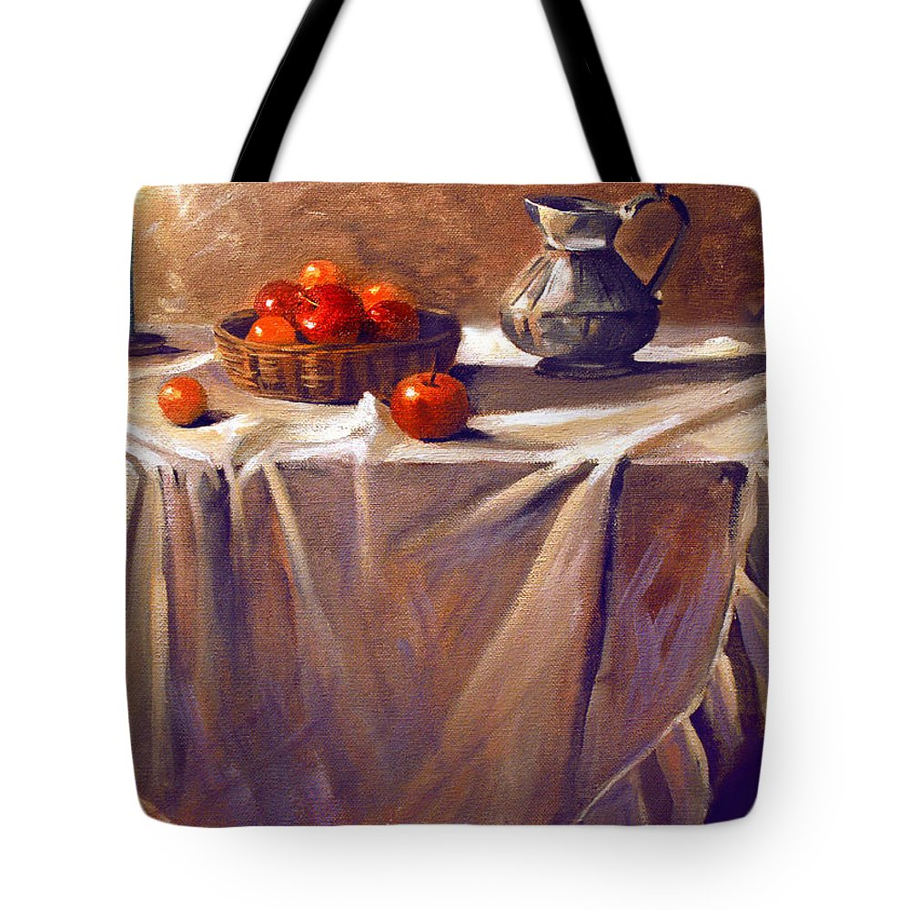 Still Life Tote Bag featuring the painting Fruit By Candle Light by Nancy Griswold