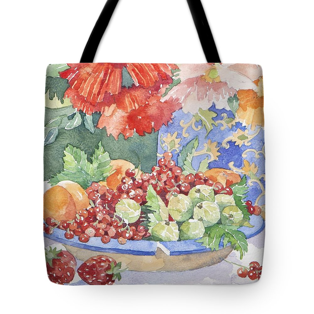 Still-life Tote Bag featuring the painting Fruit On A Plate by Jennifer Abbot