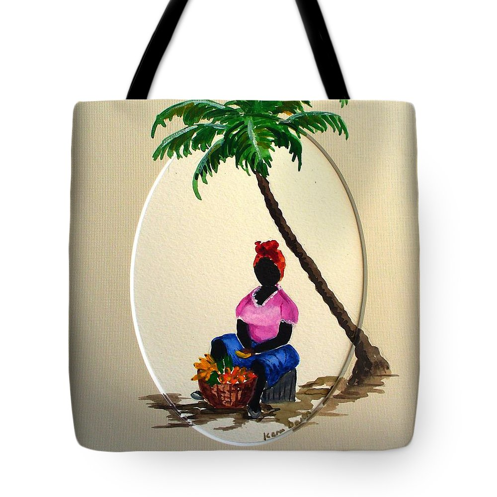 Tote Bag featuring the painting Fruit Seller by Karin Dawn Kelshall- Best