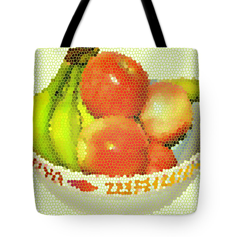 Fruit Tote Bag featuring the digital art Fruit Still Life Stained Glass by MountainSky S