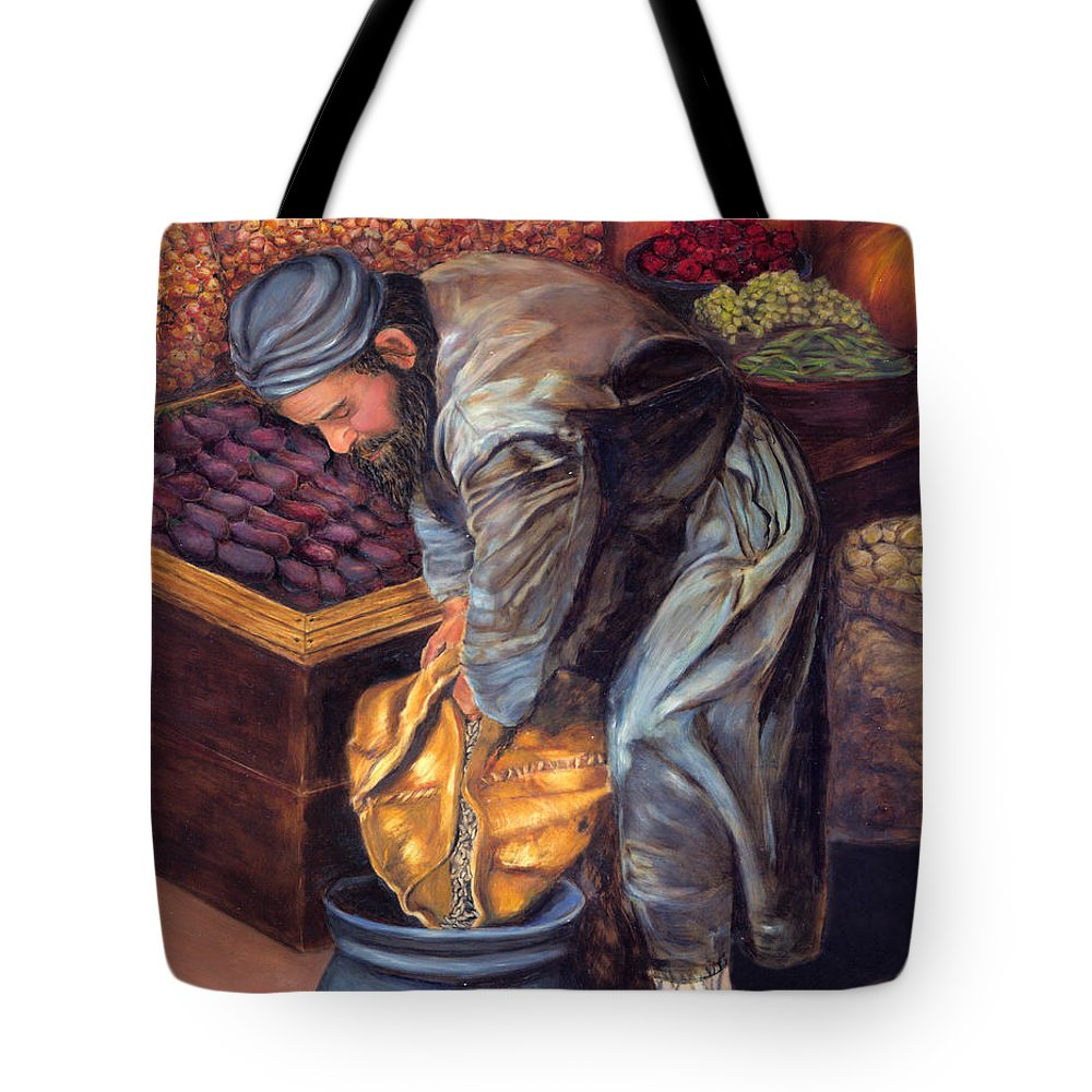 Figurative Painting Tote Bag featuring the painting Fruit Vendor by Portraits By NC