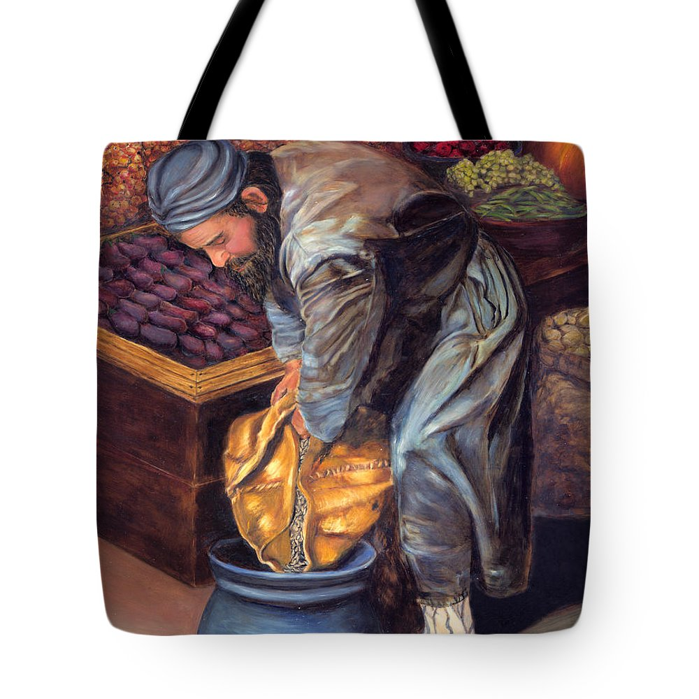 Figurative Painting Tote Bag featuring the painting Fruit Vendor by Enzie Shahmiri