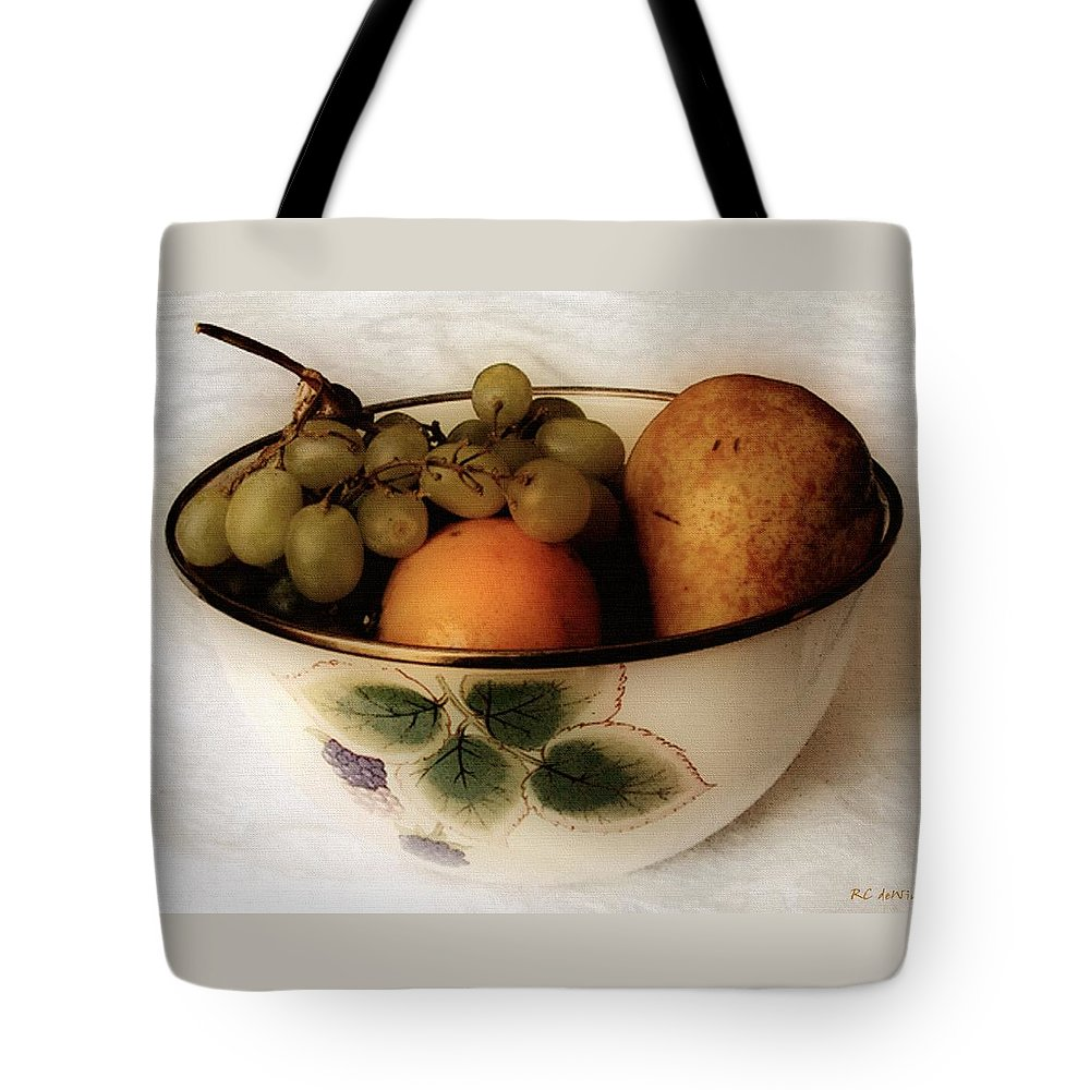 Bowl Tote Bag featuring the painting Fruitbowl Retro by RC DeWinter