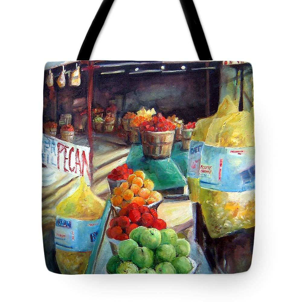 Fruit Tote Bag featuring the painting Fruitstand Rhythms by Linda Shackelford