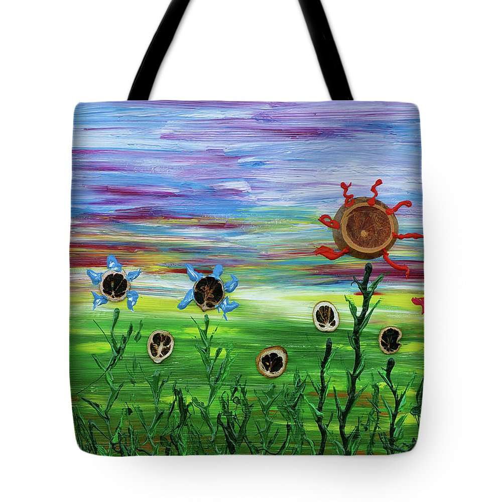 Flower Tote Bag featuring the painting Fruity Flowerfield by Erik Tanghe