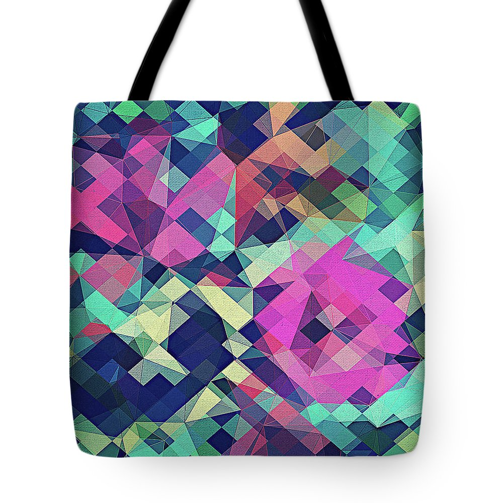 Abstract Tote Bag featuring the digital art Fruity Rose  Fancy Colorful Abstraction Pattern Design Green Pink Blue by Philipp Rietz