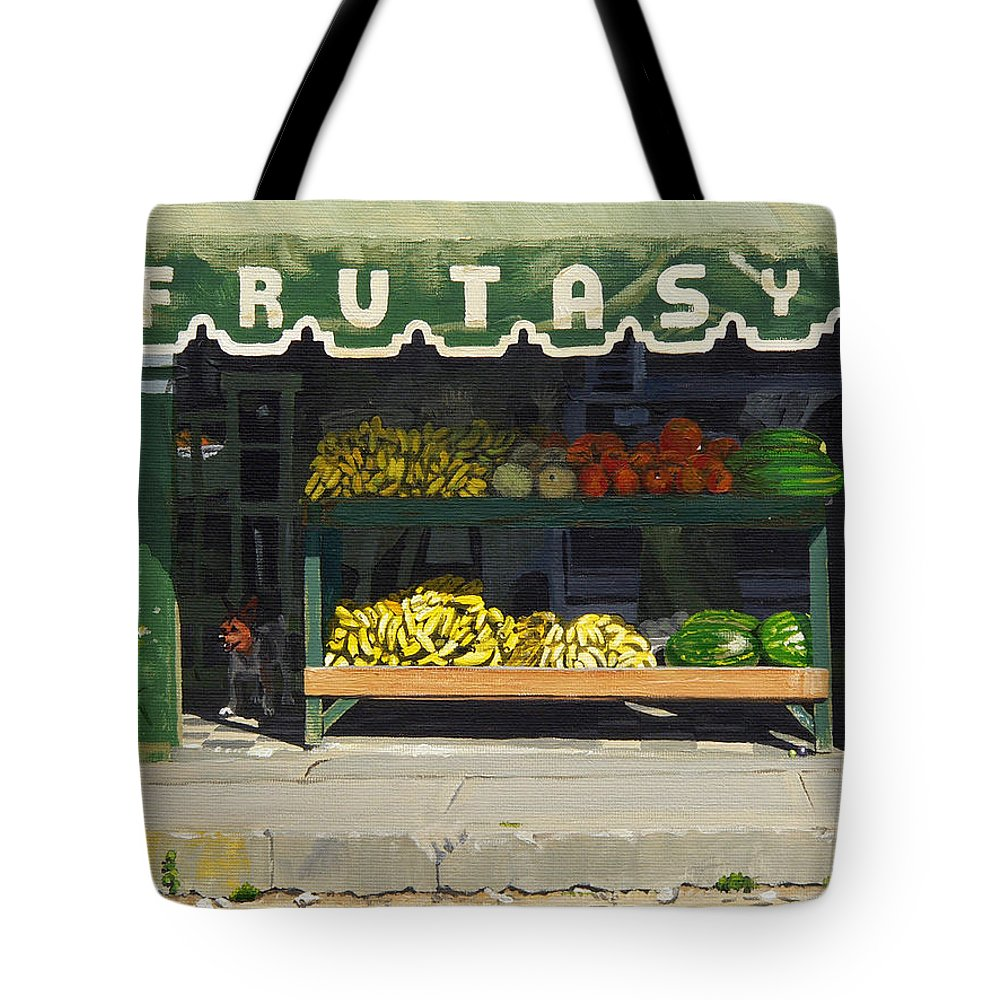 Market In Puerto Vallarta Mexico. Dog Added. Tote Bag featuring the painting Frutas Y by Michael Ward
