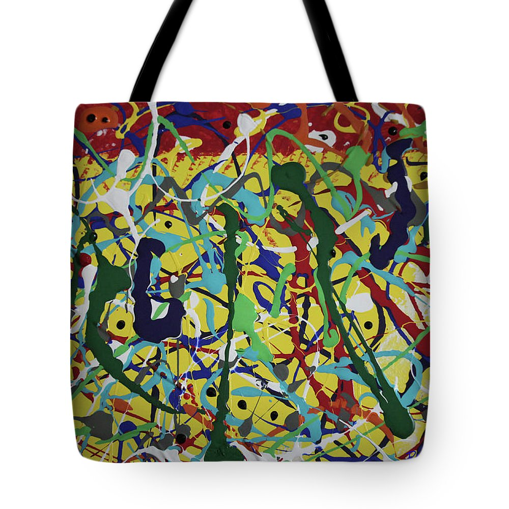 Abstract Tote Bag featuring the painting Fun Time by Pam Roth O'Mara