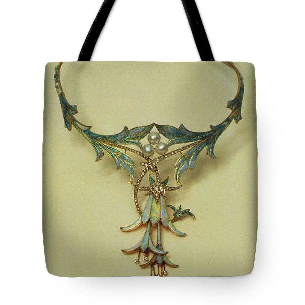 Fuchsia Necklace Alphonse Maria Mucha Tote Bag featuring the digital art Fuchsia Necklace Alphonse Maria Mucha by Eloisa Mannion