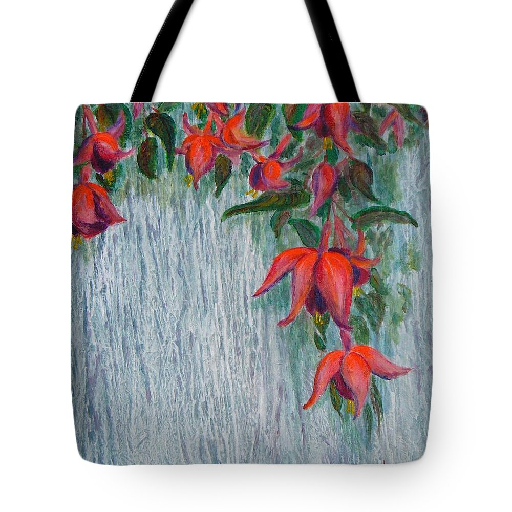 Flowers Tote Bag featuring the painting Fuchsia On The Fence by Peggy King