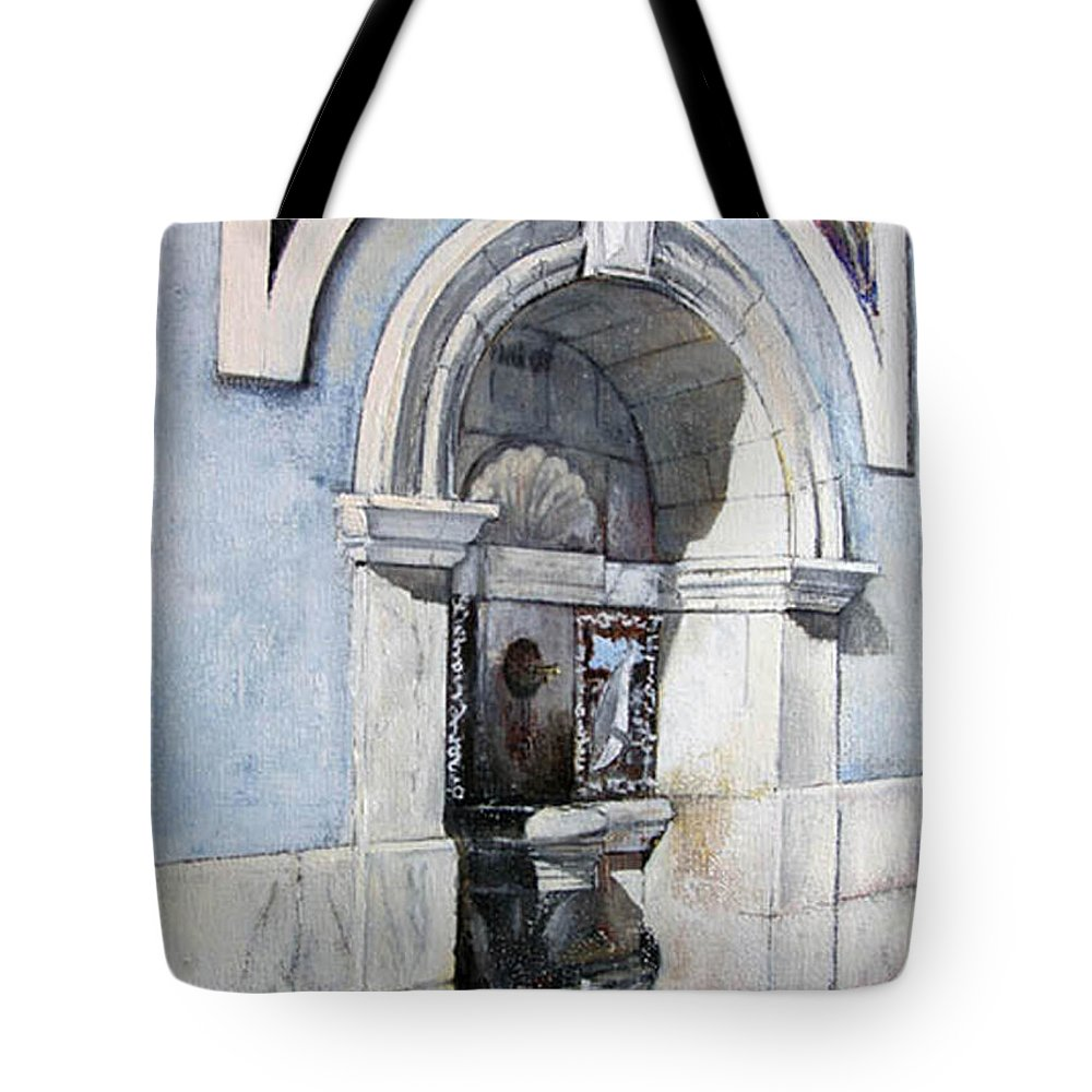 Fuente Tote Bag featuring the painting Fuente Castro Urdiales by Tomas Castano