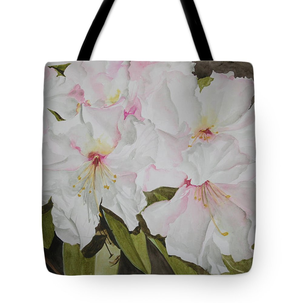 Flowers Tote Bag featuring the painting Full Bloom by Jean Blackmer