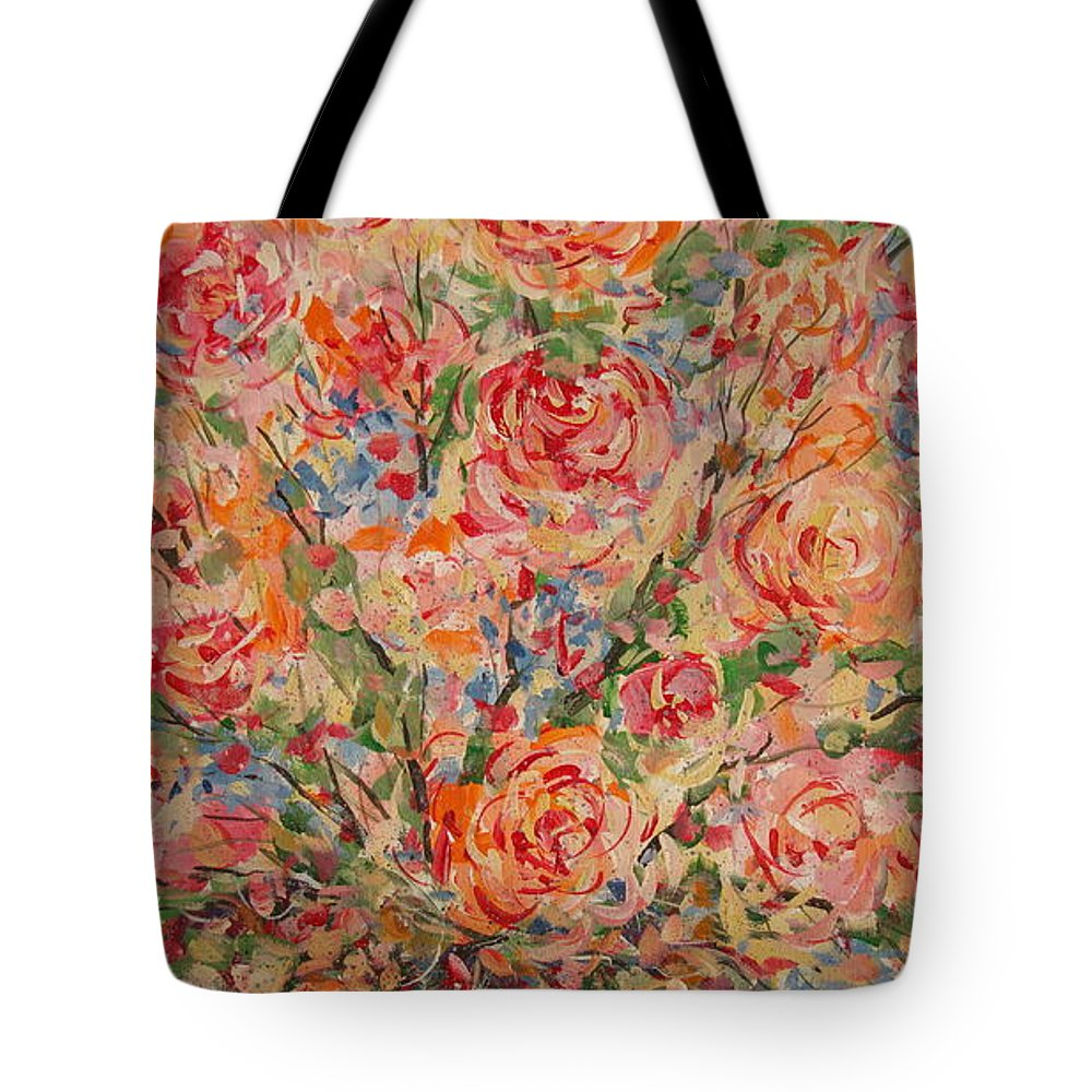 Flowers Tote Bag featuring the painting Full Bouquet. by Leonard Holland