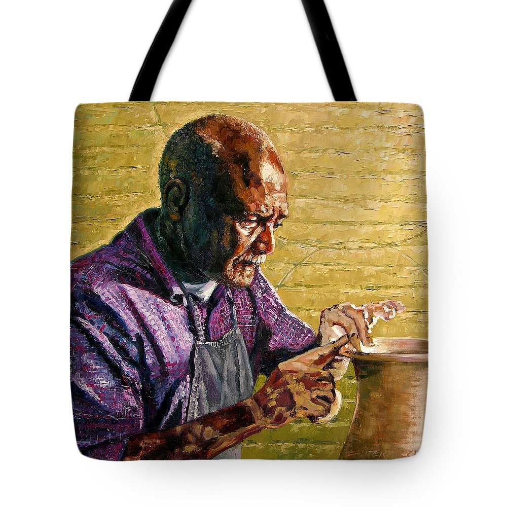 Black Potter Tote Bag featuring the painting Full Circle by John Lautermilch