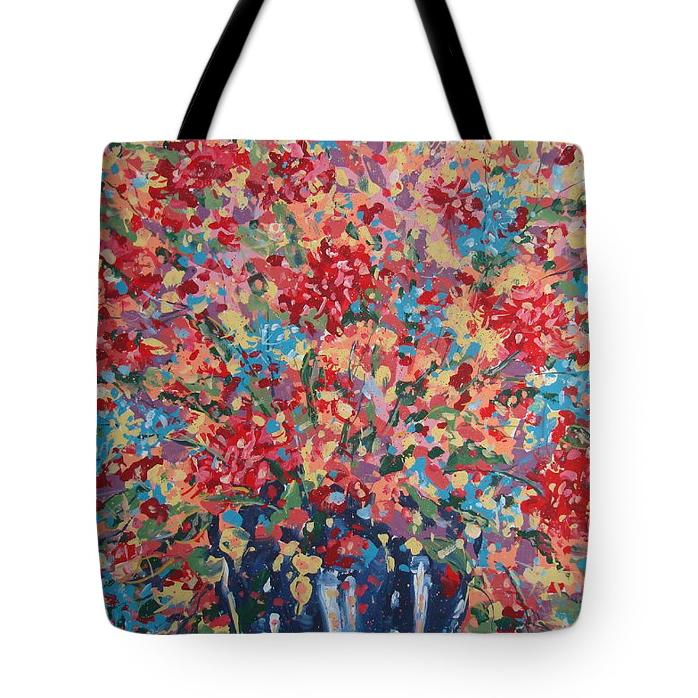 Flowers Tote Bag featuring the painting Full Flower Bouquet. by Leonard Holland