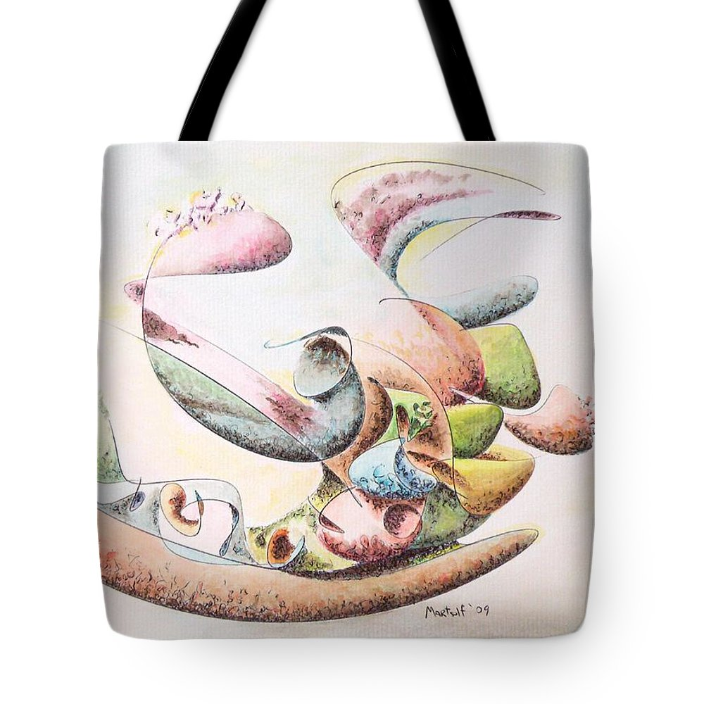 Abstract Tote Bag featuring the painting Full Force by Dave Martsolf