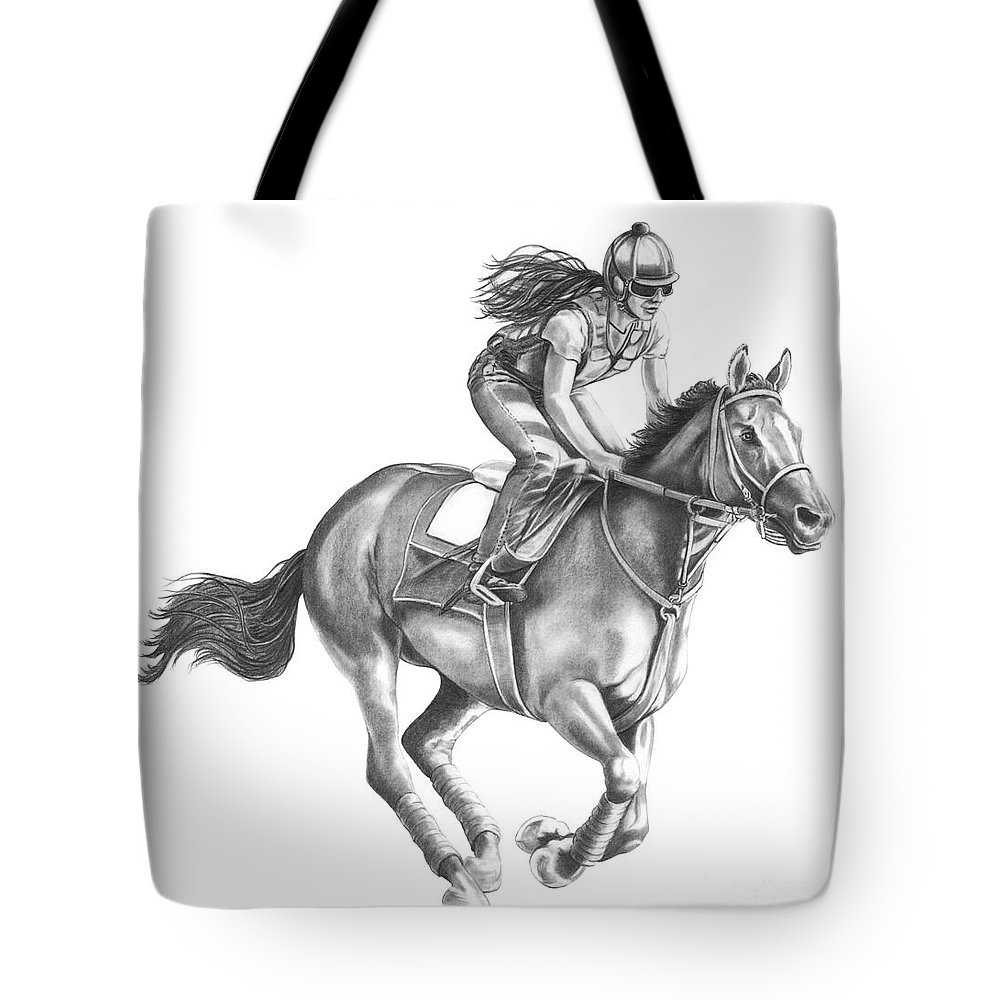 Horse Tote Bag featuring the drawing Full Gallop by Murphy Elliott