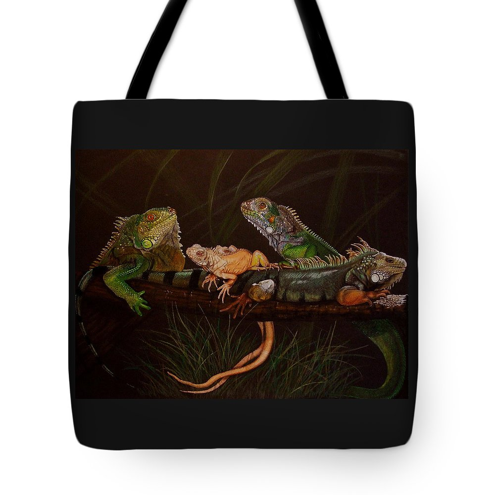 Iguana Tote Bag featuring the drawing Full House by Barbara Keith