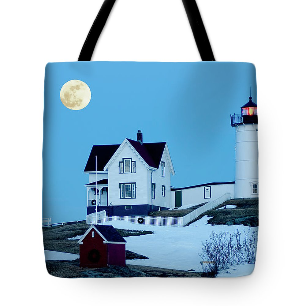 Coast Tote Bag featuring the photograph Full Moon Nubble by Greg Fortier